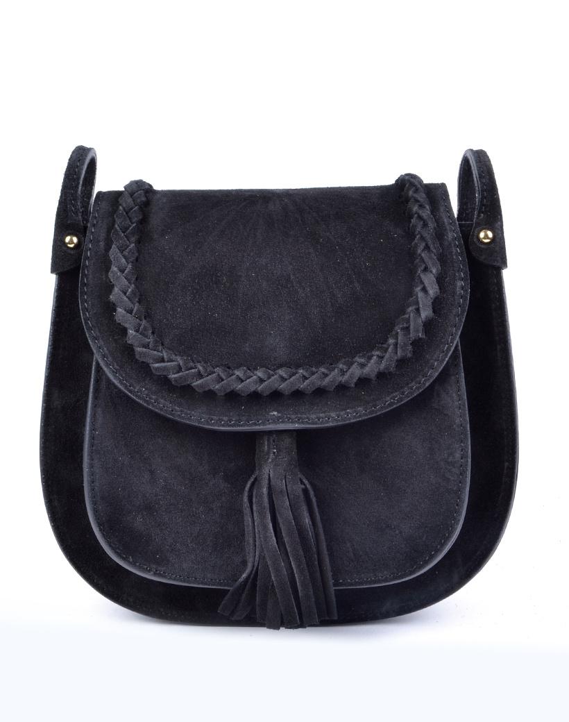 Suede Schoudertas Fancy Tassle zwart zwarte suede schoudertassen leren tassen look a like gevlochten details trendy dames tassen kopen bestellen