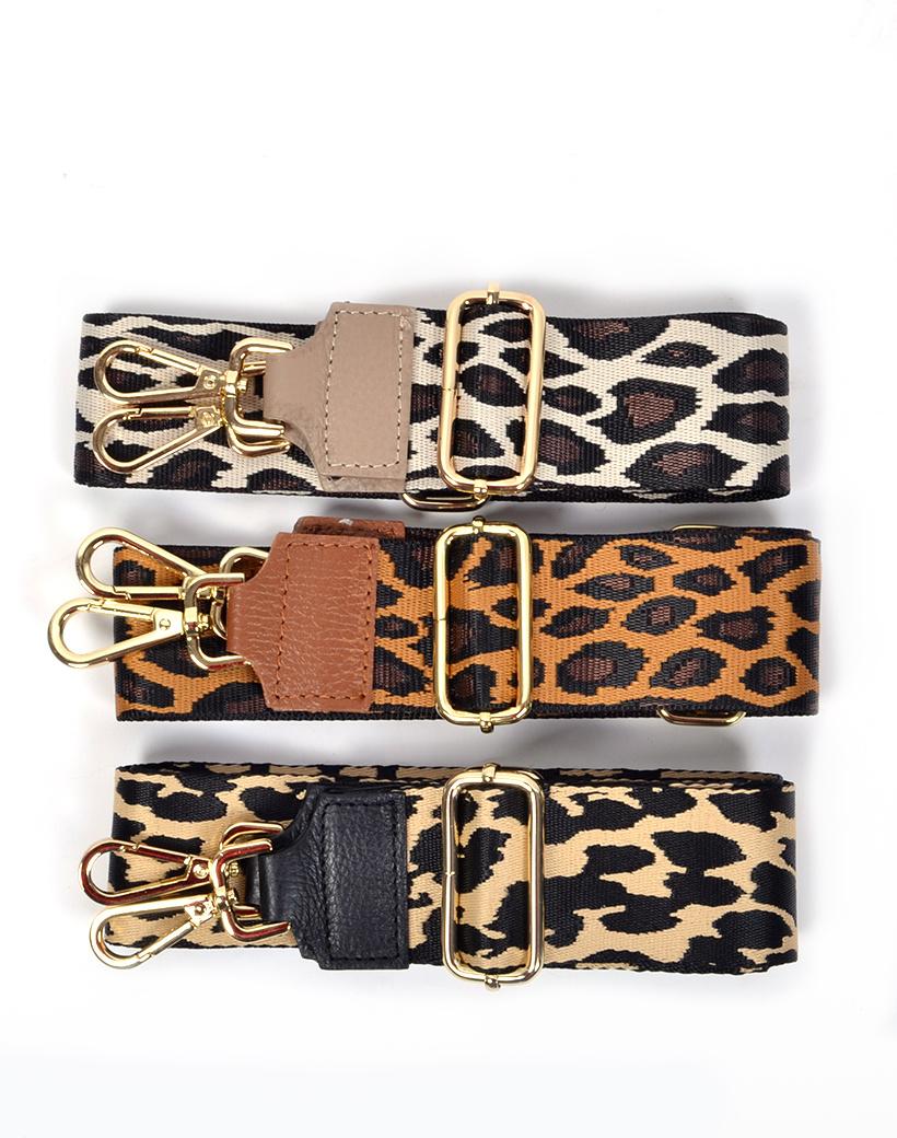Tassenhengsel Special Leopard taupe bruin zwarte leer leren tassenhengsels losse hengsels bagstraps kopen gekleurde leopard print bestellen bagstrap kopen