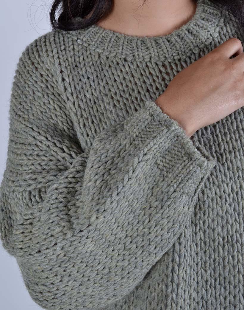 Trui Trendy Knit groen groene dames truien warme winter kleding sweaters trui kopen bestellen detail