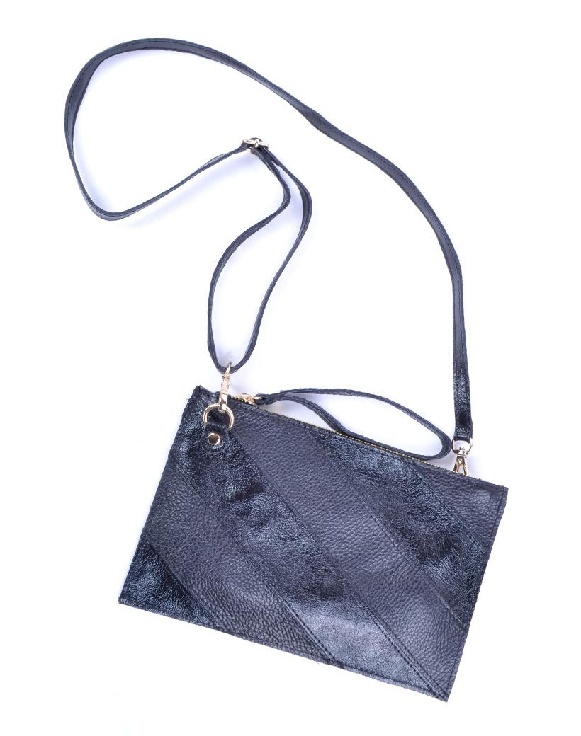 lederen Clutch Rainbow Metallic-Black-zwart-zwarte-look-a-like-it-bags-giuliano-bestellen-kopen-schoudertas tassen trendy tassen kopen bestellen